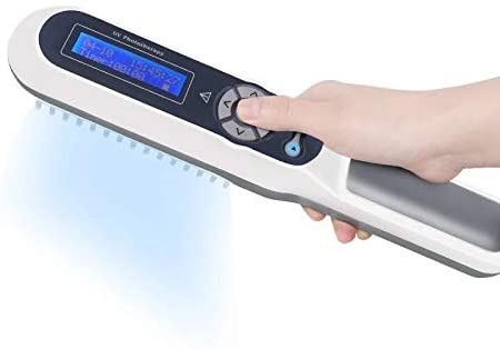 FDA Approved Hand-held UV Phototherapy Lamp with LCD Digital Timer Control&Goggles Gift